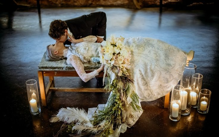 Incredible floor length bridal bouquet. #unconventional #wedding flowers
