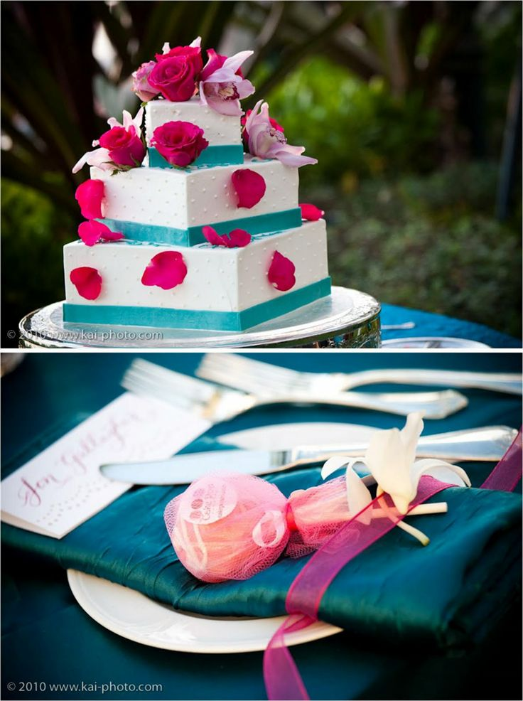 Fuchsia / Hot Pink Wedding. Cake. Tablescape.