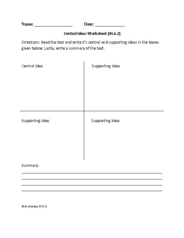 6th Grade Common Core | Reading Informational Text Worksheets