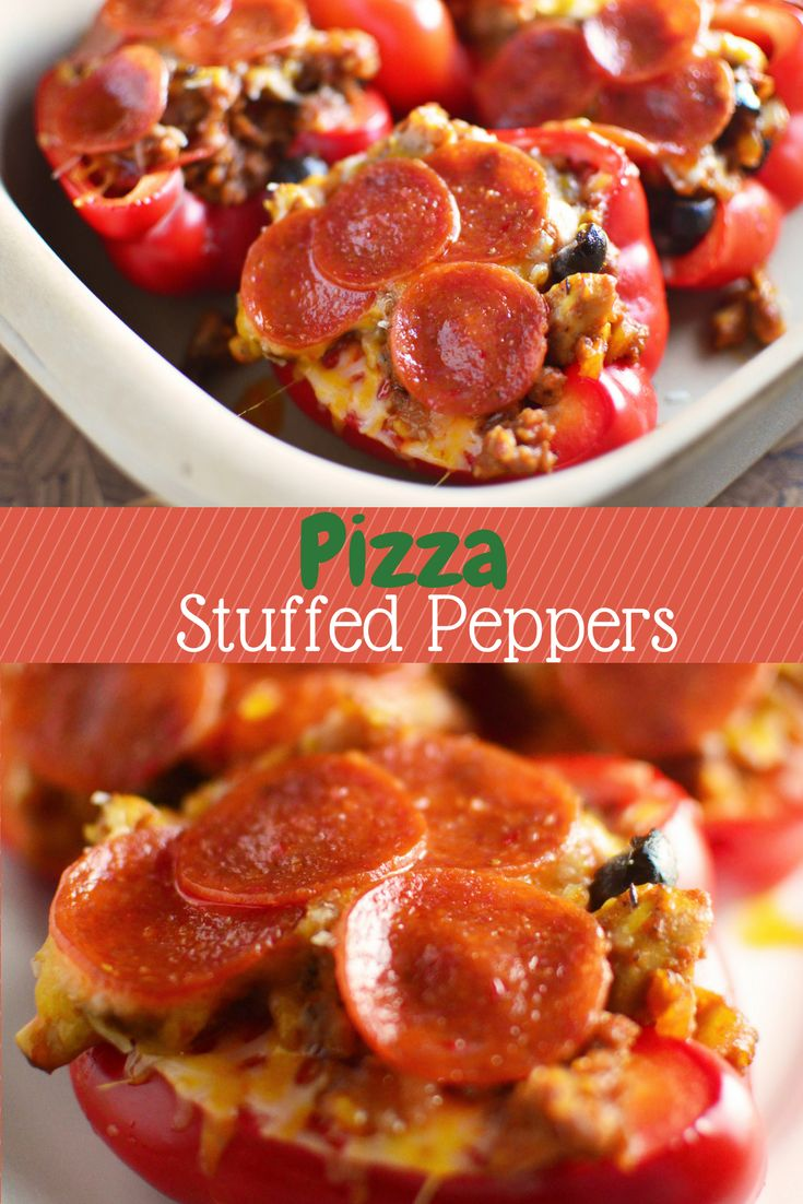 These gluten-free, low-carb Pizza Stuffed Peppers have everything you love on a supreme pizza without the crust! They make a super easy, kid-friendly meal!
