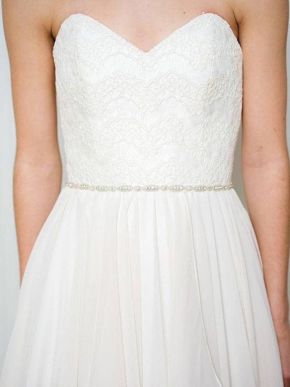 Thin Bridal Belt   Rhinestone Wedding Belt   Crystal Bridal Sash   Skinny Bridal Sash [Belise Belt]