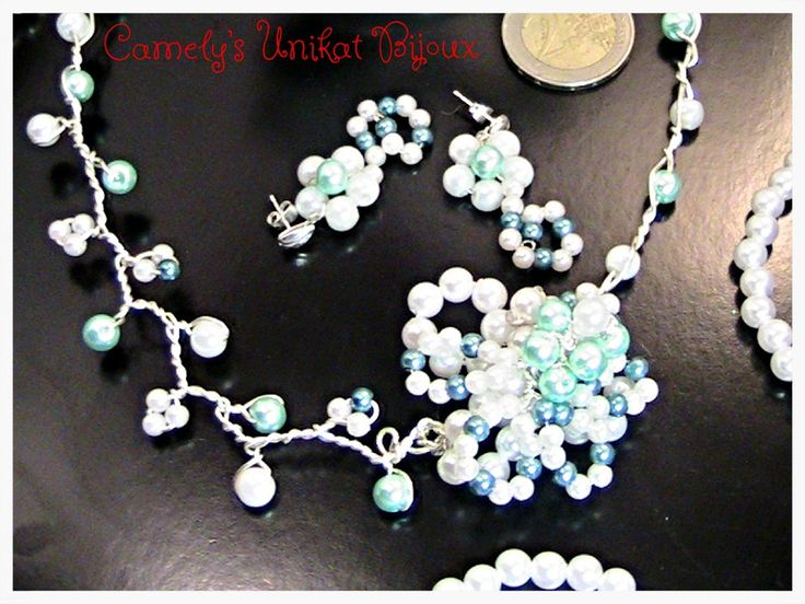 Bridal Pearls SET,WHITE & BLUE Necklace & Ear from CamelysUnikatBijoux by DaWanda.com