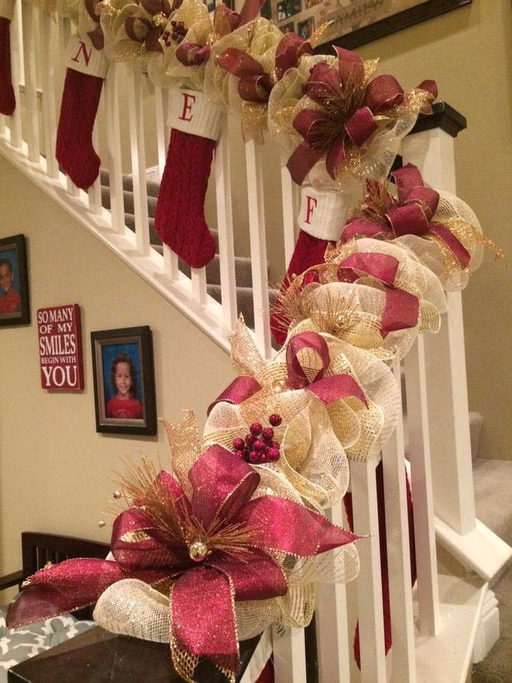 christmas garland garland deco mesh garland christmas swag swag - How To Decorate A Staircase For Christmas With Deco Mesh
