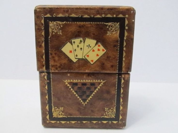 Vintage Playing Card Case Faux Wood Double Deck Raised/ Embossed Details Germany