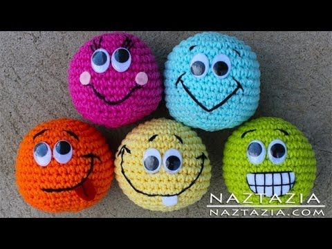 Learn How to Crochet - Basic Beginner Amigurumi Smiley Face Hacky Sack Ball Toy SC2TOG INVDEC Emoji - YouTube
