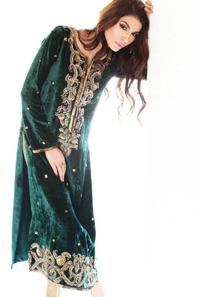 Green Velvet with Cream Churidaar
