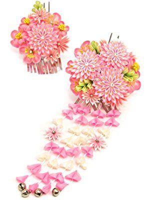 つまみ細工髪飾り2点セット 簪(かんざし) 花 [成人式/振袖/卒業式/袴/結婚式/着物/和装]