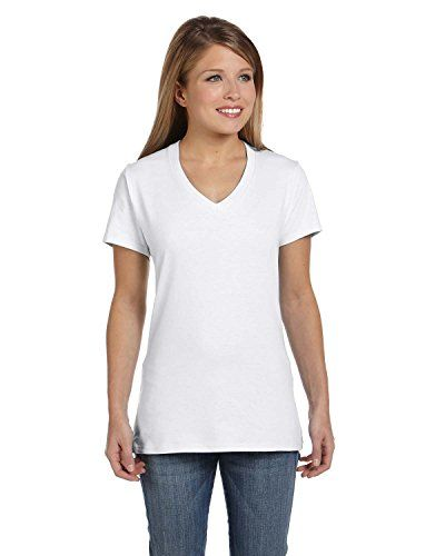 Special Offer: $6.74 amazon.com The women's nano-t v-neck t-shirt by hanes is another stylish addition to the nano collection. This v-neck tee was designed specifically for a fashionable, comfortable, feminine lookShort-sleeve tee in assorted colors featuring banded V-neckline and...