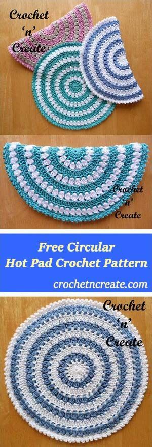 Round hot pad   free crochet pattern   made in 100% cotton   #crochet