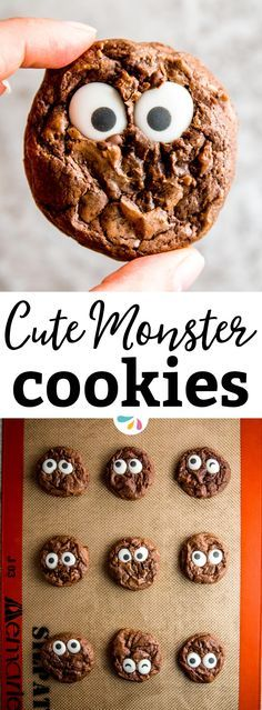 Do you want to make a Halloween treat you'll actually have fun making with the kids and that will look exactly like in the picture? Try these Cute Monster Eye Cookies! They're a great easy dessert for a party and if you don't feel like baking your own coo