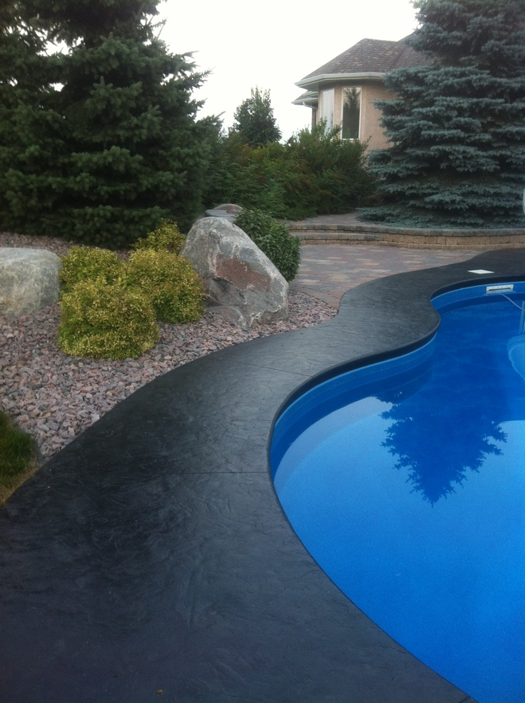 Stamped Concrete Border Around An Inground Pool My Home