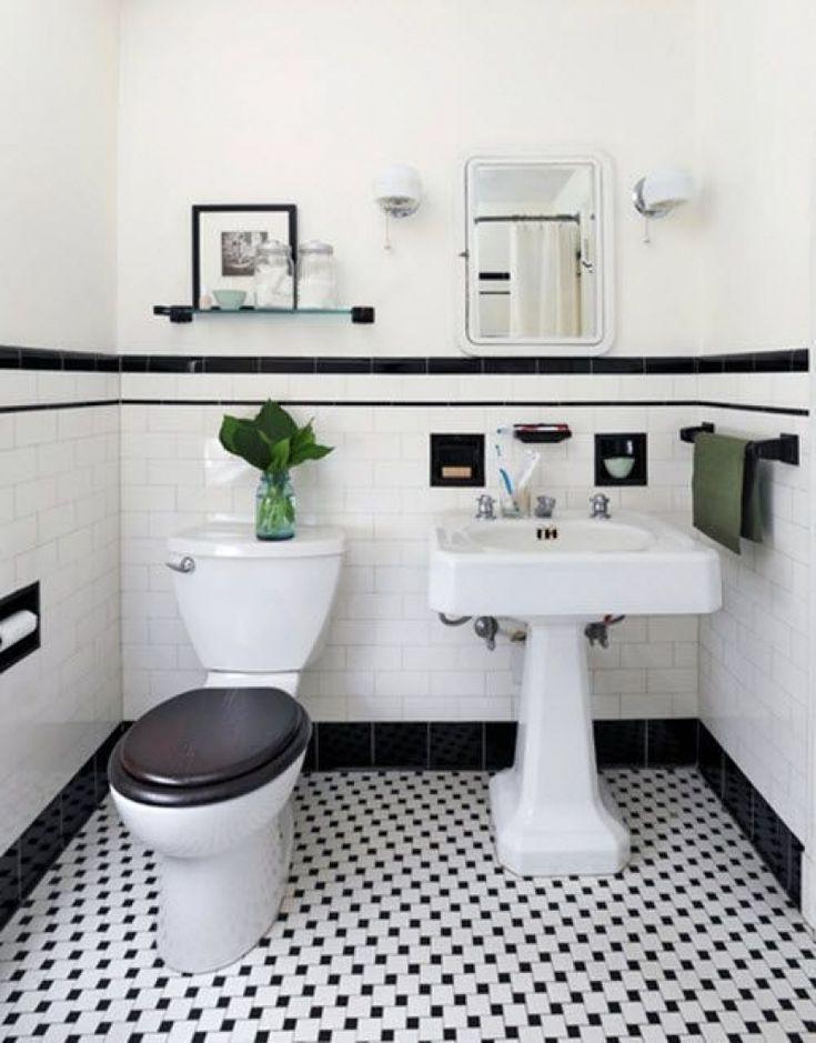 Schwarz Und Weiss Geflieste Badezimmer Deko Ideen Mit Bildern