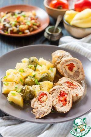 Мясные рулетики с сыром и овощи на пару