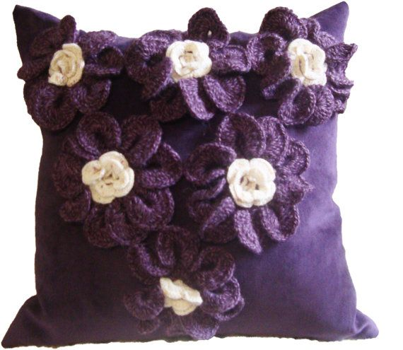 Hand made Pillow with embroidered crochet flowers by DubrasenHome, $70.00