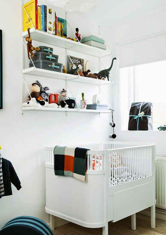 Shelves of eclectic toys add elements of personality.