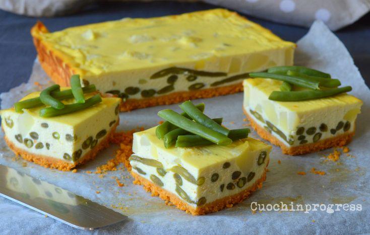 Il cheesecake salato ai fagiolini è una ricetta semplice, ma di grande impatto e molto golosa. Da servire come piatto unico, antipasto o finger food