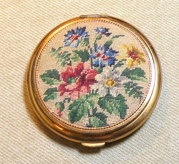Vintage Compact Petit Point by Schildkraut by RosePetalResources, $30.00