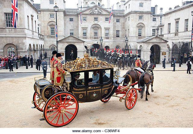 Royal Carriage Royal Wedding Horse Guards, Whitehall, London, UK. Photo:Jeff Gilbert - Stock Image