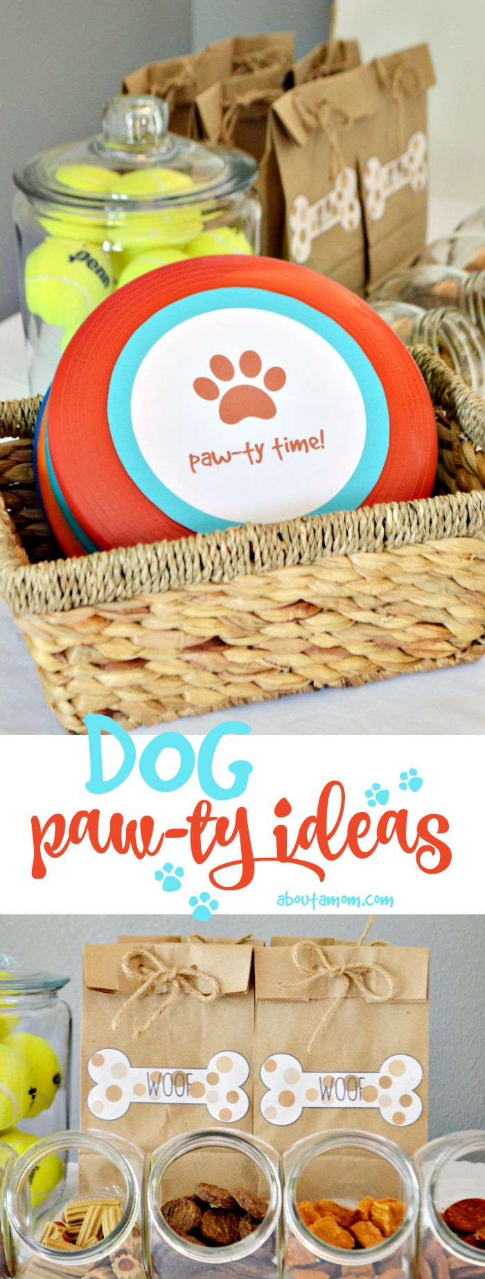 Dog party ideas and printables that will guarantee a barking good time for your 4-legged friends. Delicious dog treats, frisbee printable, doggy bag printable and more. #NutrishPets AD