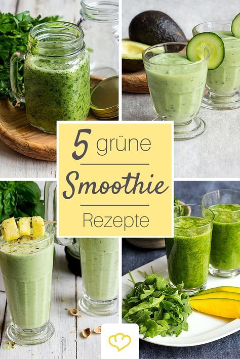 Für den Energiekick: grüne Smoothies aus Gemüse, Kräutern und Obst. Randvoll mit Vitaminen und Nährstoffen!