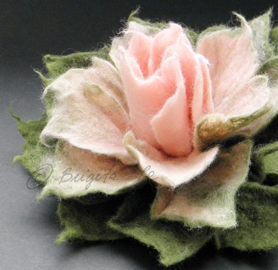 *FELT ART ~ Sweet Pink and Moss Green Felt Flower Brooch by Brigite on Etsy,