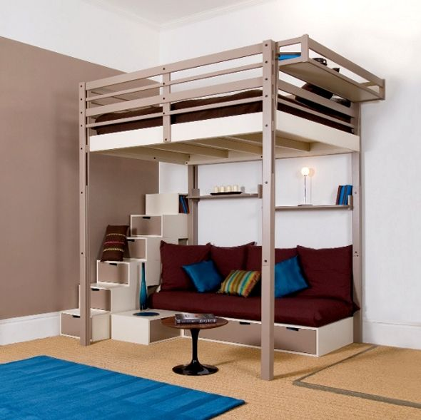 Best 25 loft beds for teens ideas on pinterest loft bed - Adult loft beds with stairs ...