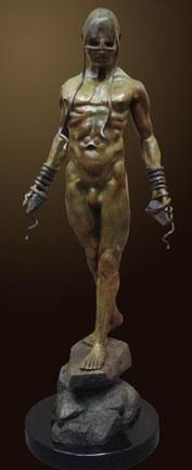 """Bound to His Emotions"" by Renzo Bronze Sculpture Edition Size: 55 SN Size: 45""h x 16""w x 15""d"