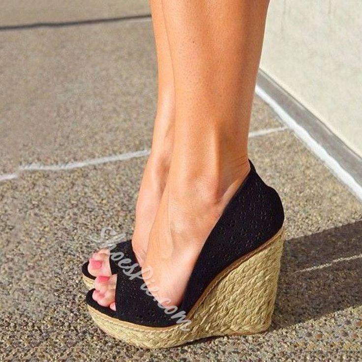 Sexy Beach Open Toe Wedge Heels - Black