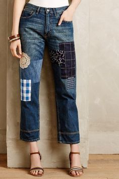 21 maneras de seguir la tendencia del remiendo de los pantalones vaqueros //  #Maneras #pantalones #remiendo #seguir #tendencia #vaqueros