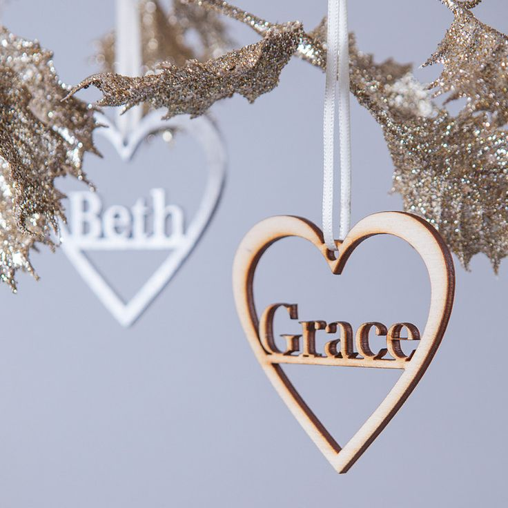 Personalised Heart Keepsake Christmas Decoration. Metallic, wooden home decor.