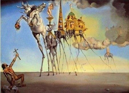 Salvador Dali Art peinture à l'huile : tentation de st. Antoine garanti 100% livraison gratuite(China (Mainland))