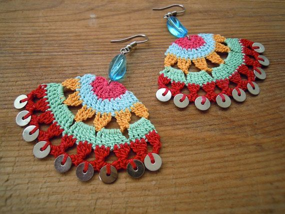 multicolored crochet earings, pink, blue, orange, mint, red, sequines