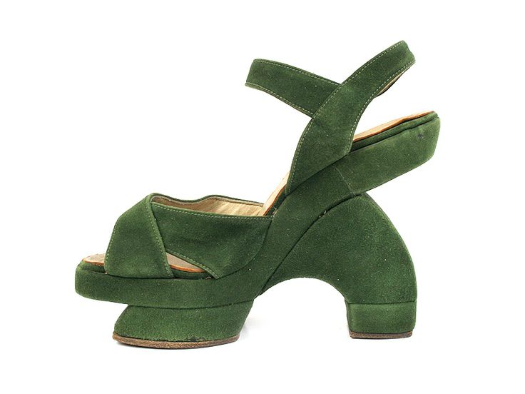 1940s green suede Asian inspired shoes