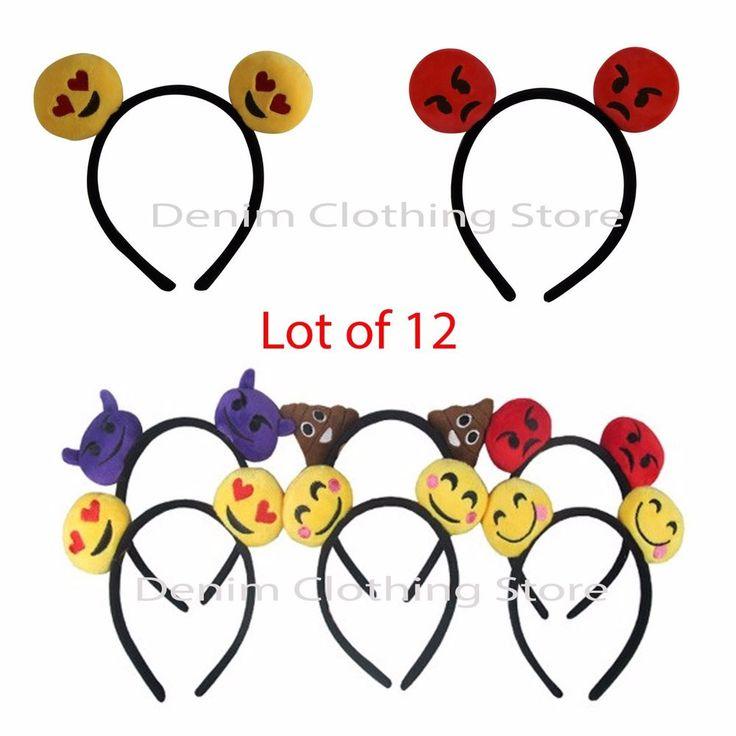 12pcs Women Emoji Ear Headband Girl Fancy Dress Party Supplies Hats Kids Costume #Unbranded