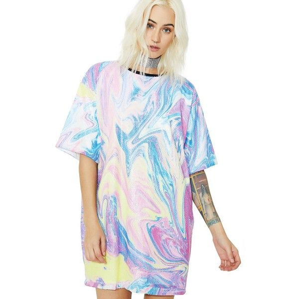 Jaded London Printed Sequin Oversized T-Shirt Dress ($85) ❤ liked on Polyvore featuring dresses, sequin t shirt dress, sparkly dresses, sequin dress, t shirt dress and white t-shirt dresses