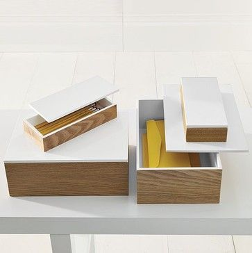Wood Boxes With Lacquered Lids   Modern   Storage Boxes   West Elm