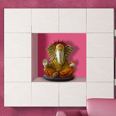 Here is a traditional Ganesha sculpture, made out of adhesive resin and fibre, to add elegance and Ganesha's blessings in your homes and offices.     Get more Ganesha themed products, such as wall-stickers, clocks, laptop stickers, only on http://www.gloob.in/catalogsearch/result/?q=ganesh