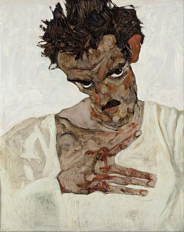Egon Schiele Αυτοπροσωπογραφία με χαμηλωμένο κεφάλι (1912)