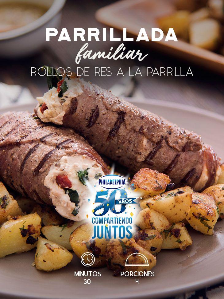 Junta a tu familia para una parrillada el fin de semana. Estos Rollos de res a la parrilla son ideales para la ocasión.   #recetas #receta #quesophiladelphia #philadelphia #crema #quesocrema #queso #comida #cocinar #cocinamexicana #recetasfáciles #parrilla #parrillada #res #carne #rollos #papas #familia #findesemana #comida #comidafamiliar
