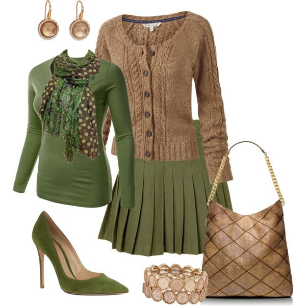 A fashion look from September 2014 featuring brown cable knit cardigan, plus size long sleeve tops and green cotton skirt. Browse and shop related looks.