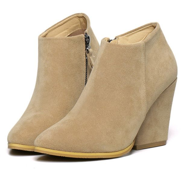 Apricot Suedette Pointed Wedge Ankle Boots ($39) ❤ liked on Polyvore featuring shoes, boots, ankle booties, short boots, wedge boots, pointy-toe ankle boots, wedge ankle booties and suede bootie