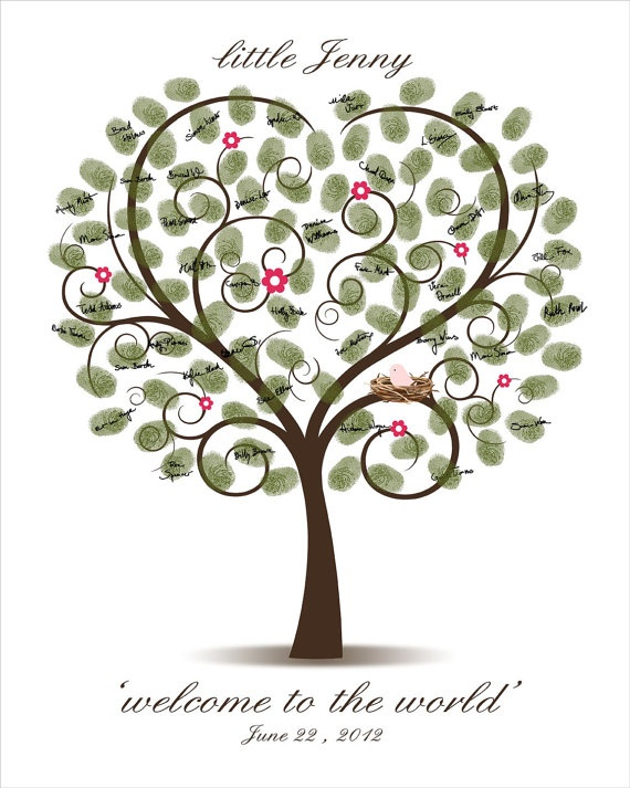 Michelle loved what they did at Breannas Shower something similar to this. All the guest put their fingerprint and name on tree and it will go in the baby's room. :) Of course the little bird would need to be gender neutral. :)  DIY Baby Shower Fingerprint Tree  Printable by CustombyBernolli, $18.00