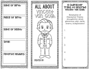 This two-sided tri-fold Vincent van Gogh biography brochure template allows students to dig deeper into facts about the human rights activist. An interactive notebook pocket has been provided, however, these brochures can be created as a stand alone project as well.