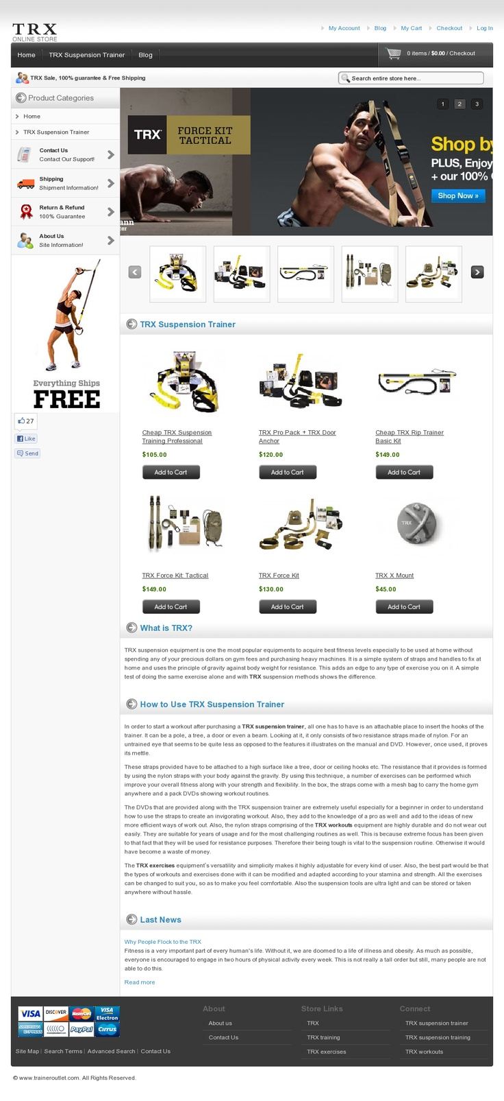 The users are very much satisfied and enjoying the physical development using the TRX workout equipments. The TRX system is utilized by all sorts of people who are very much caring for their physical fitness. The range of our customers starts from normal people to physically hard working army men. The TRX satisfies all of them by providing varieties of workouts suitable for them >> TRX, TRX workouts, TRX exercises, TRX suspension trainer, TRX sale --> www.traineroutlet.com
