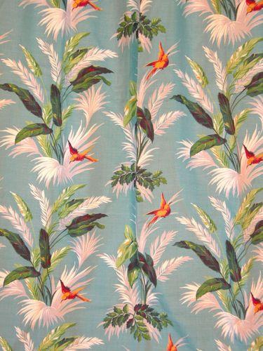 Vintage 30s 40s Barkcloth Fabric Panel Tropical Hawaiian Print Birds Ferns 2OF2 | eBay