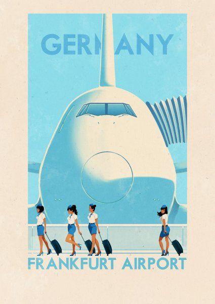 """""""Airport Frankfurt: Dieses Bild des deutschen Großflughafens entstammt der Phantasie des portugiesischen Illustrators Rui Ricardo."""""""