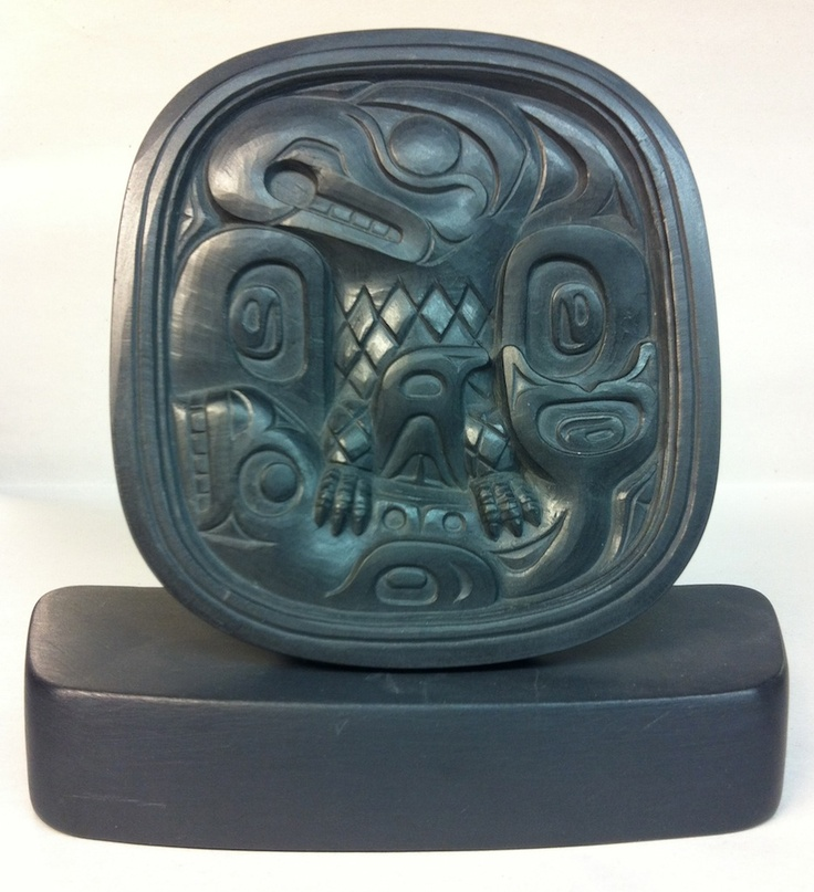 Haida thunderbird and whale dish argillite
