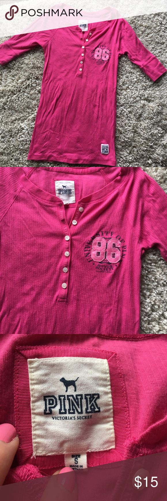 PINK short sleeve quarter button up t-shirt Victoria's Secret PINK short sleeve quarter button up t-shirt. Great pink color 👚 PINK Victoria's Secret Tops Tees - Short Sleeve