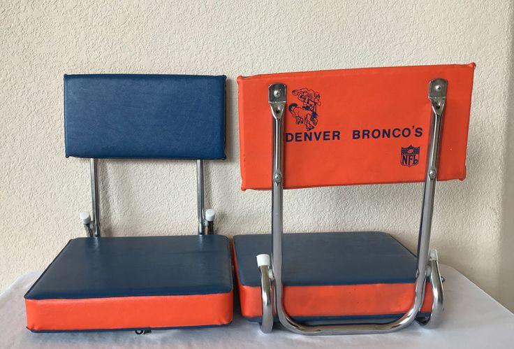 Vintage Denver Broncos Foldable Stadium Seats Pair of 2 Throwback Retro Orange #NFL