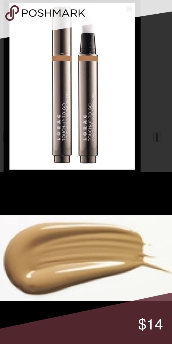 TOUCH-UP TO GO CONCEALER PEN New in box Color: TAN TOUCH-UP TO GO CONCEALER PEN New in box Color: TAN Get an instant pick-me-up with LORAC's Touch-Up To Go Concealer/ Foundation Pen. This travel-friendly, versatile 2-in-1 formula conceals and covers imperfections with a built-in brush applicator for a long-wearing, natural finish. This oil, paraben and fragrance free formula is infused with Vitamins A and E, Acai Berry, White and Green Tea Touch-Up To Go provides medium coverage that is…